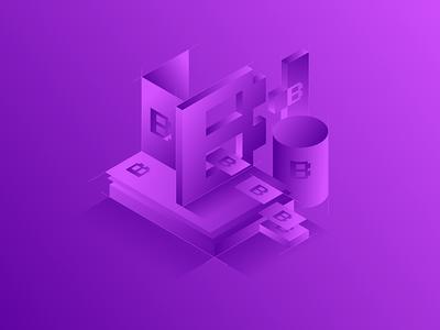 Branding Background bold paper isometric monochromatic branding purple