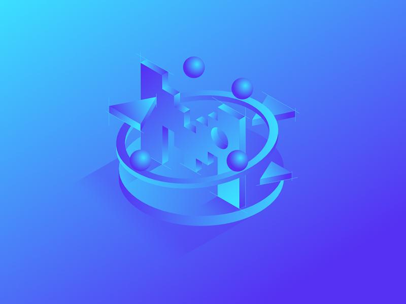 Motion Background circles 3d monochromatic motion isometric blue bold background