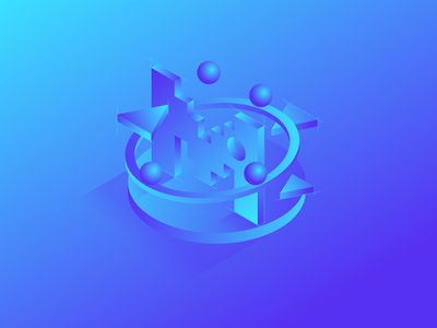Motion Background circles 3d monochromatic motion isometric blue bold background