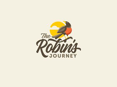 The Robin's Journey Logo Designs wellness health transformation hope sun robin bird logo brand