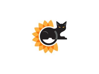 Brand Graphic for Author LL Kaplan yinyang contrast sunflower black cat logo brand