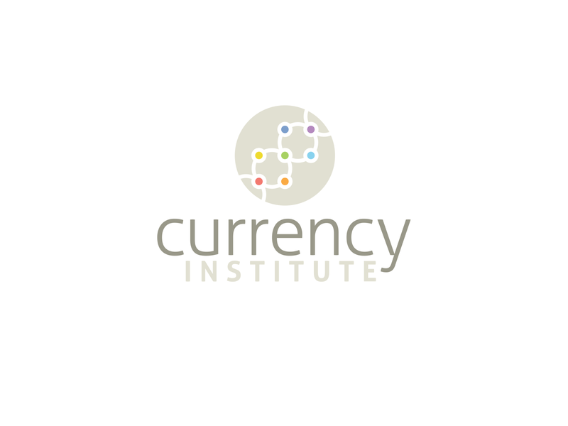 Currency Institute Logo workspace continents connections collaboration teamwork dna chakras seven finanacial brand logo