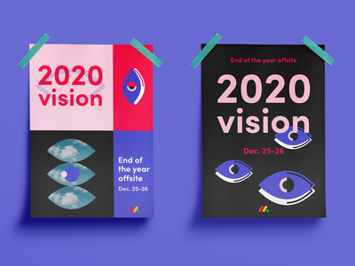 Branding for end of the year company offsite poster 2020vision vision offsite monday.com 2020 logo design branding