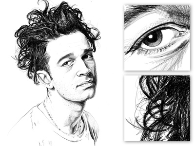 Matty Healy Portrait detail hair eye musician contrast pen black and white portrait face illustration sketch crosshatch