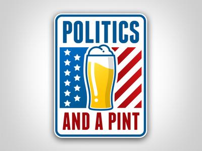 Politics And A Pint Logo clean stripes stars glass graphic icon logo america flag beer pint politics