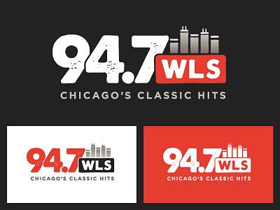 94.7 WLS Identity vintage branding chicago tower building skyline red light dark radio identity logo