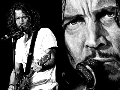 Chris Cornell Illustration shadow dramatic pen portrait microphone guitar black and white reverse musician drawing face illustration