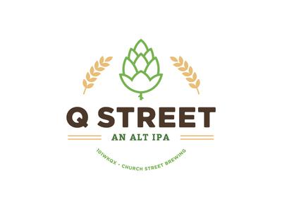 Q Street Beer - Concept Logo #1 brew street church chicago ipa clean green icon logo hop wheat beer