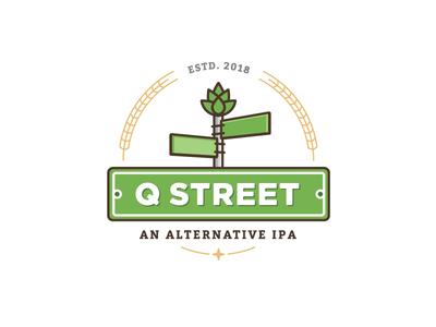 Q Street Beer - Concept Logo #2 q sign star chicago ipa hop wheat mark logo street brew beer