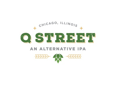 Q Street Beer - Concept Logo #3 q clean star mark logo hops wheat ipa chicago brew beer green