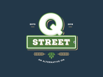 Q Street Beer - Concept Logo #4 distressed brew wheat hops ipa q street sign green blue beer