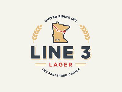 Line 3 Lager Logo state duluth clean minnesota pipeline wheat brew beer lager mark logo