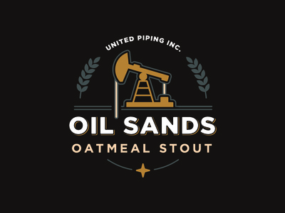 Oil Sands Oatmeal Stout Logo drill piping star well mark logo beer stout dark sands oil oatmeal