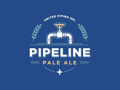 Pipeline Pale Ale mark logo star blue wheat pale ale brew valve beer pipeline clean