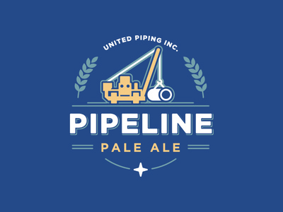 Pipeline Pale Ale - v2 wheat pipe star pipeline pale mark logo machinery brew blue beer ale