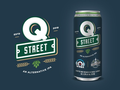 Q Street Beer - Logo & Label can wheat street sign q ipa hops green label brew blue beer