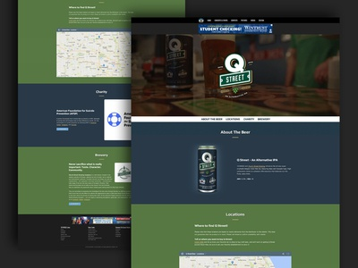 Q Street Beer - Website (on desktop) wheat street sign q can ipa hops green website brew blue beer