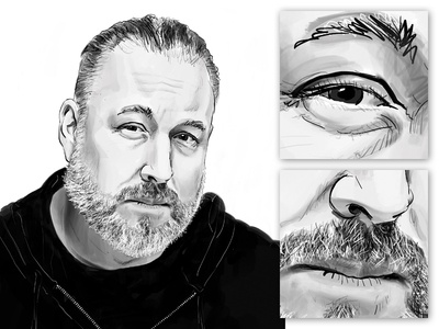 Illustration style experiment - Version 1 chicago radio work in progress facial hair paint line art ipadpro procreateapp stylized black and white face portrait illustration