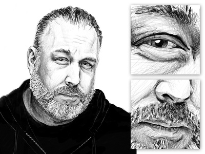 Illustration style experiment - Version 2 work in progress facial hair chicago radio drawing line art illustration portrait stylized ipad pro procreateapp black and white face