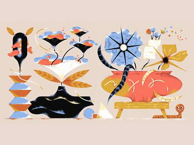 Weird Flower Arrangements vector design 2d illustration illustration ill weird flowers