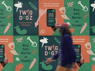 Visual Identity for Twig Digz app gardening twig digz logo brand design branding visual identity design illustration