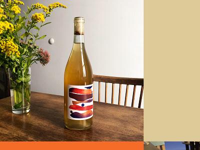 Label Design for Co-Op Wines drawing graphic design illustration painting wine packaging label orange wine wine label