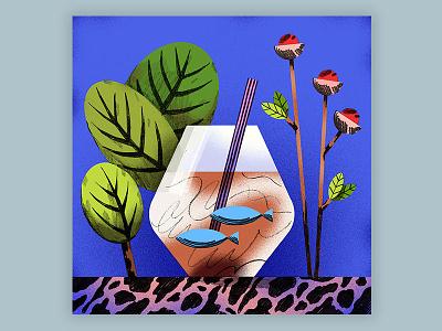 Iced Latte Macchiato Illustration textures doodle drink macchiato latte coffee plants drawing illustration