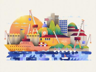 Illustration of Rijeka, Croatia