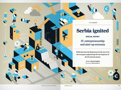 Illustration on entrepreneurship and start-up economy serbia 2d illustration technical identity economy start-up entrepreneurship