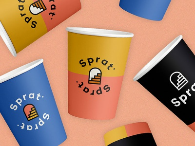 Visual identity for Sprat Bar symbol illustration stairs logotype logo mockup cups cetinjska sprat visual identity