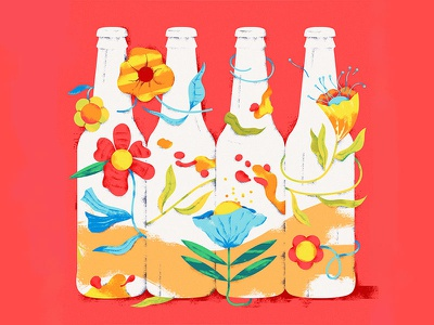 Illustration for Salto Brewery herbs red flat neon blossom spring flowers 2d illustration beer brewery