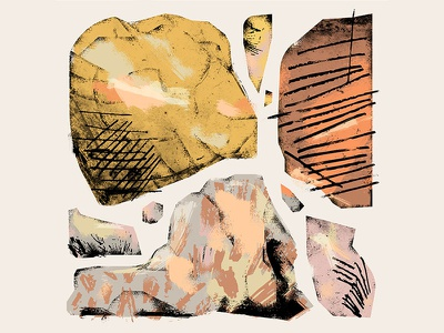 Moroccan stones textures pastel shapes geometry illustration flat 2d diary hiking mountains toubkla morocco rocks stones