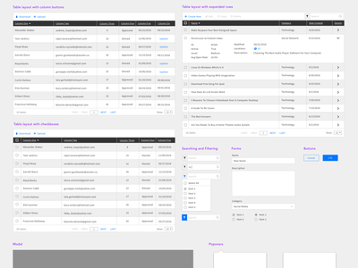 Updated Tables Wireframe sketch popovers modals forms tables wireframe