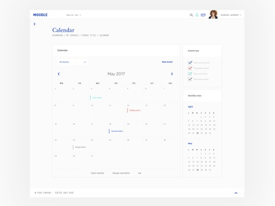Moodle theme - calendar web theme template moodle app