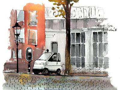 Amsterdam sketch illustration art watercolour