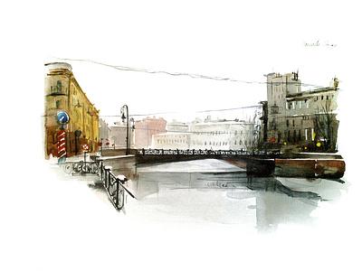 Saint Petersburg illustration watercolor