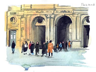 Louvre aquarelle watercolor sketch art watercolour illustration
