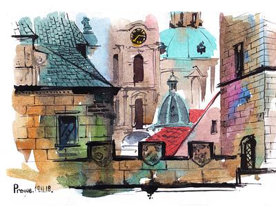 Prague. The Charles Bridge watercolor sketch nature abstract art watercolour illustration