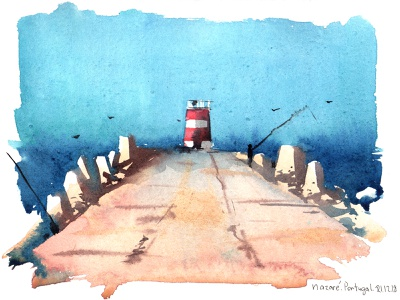 Portugal artwork aquarelle watercolor sketch nature art watercolour illustration