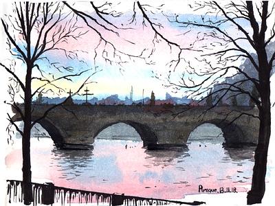 The Charles Bridge watercolor aquarelle urban art sketch nature art watercolour illustration
