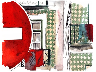 House in Lisbon travel aquarelle abstract watercolor nature sketch art watercolour illustration