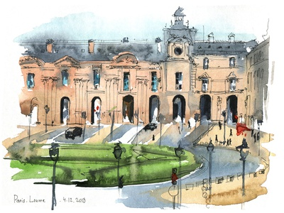 Louvre building urban art urban sketching travel aquarelle watercolor nature sketch art watercolour illustration