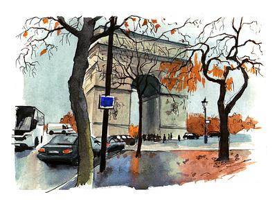 Paris2 travel aquarelle abstract watercolor nature sketch art watercolour illustration