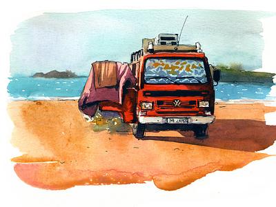 Red van design travel abstract aquarelle watercolor nature art sketch watercolour illustration