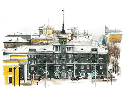 Barnaul3 urban illustration urban art travel aquarelle watercolor nature art watercolour illustration