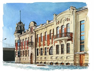 Barnaul in December urban art travel aquarelle watercolor sketch nature art watercolour illustration