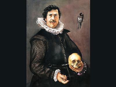 Pablo Escobar drawing painting face emotion portrait aquarelle watercolor art watercolour illustration