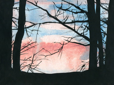 Sunset painting drawing abstract travel aquarelle nature sketch watercolor art watercolour illustration
