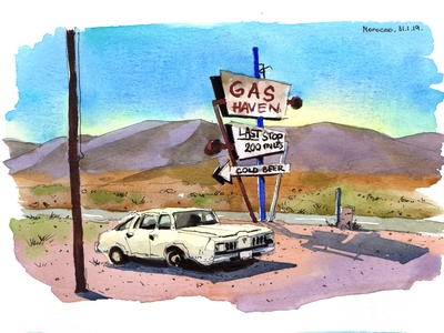 Gas station car painting drawing travel aquarelle nature watercolor sketch art watercolour illustration