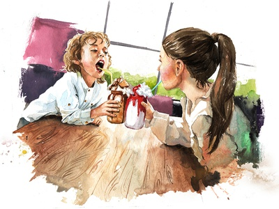 Cafe food illustration food children emotion painting portrait drawing aquarelle face sketch watercolor art watercolour illustration